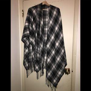 Plaid BOHO Poncho/Blanket Scarf.